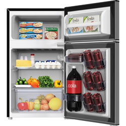 Avanti Products Compact Refrigerator 3.1cft, 2-Dr, 18-3/4 in x 19-3/4 in x 33-1/2 in, Stainless Steel