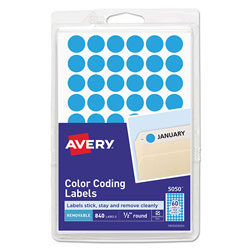 Avery Handwrite Only Self-Adhesive Removable Round Color-Coding Labels, 0.5 in dia., Light Blue, 60/Sheet, 14 Sheets/Pack