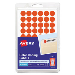 Avery Handwrite Only Self-Adhesive Removable Round Color-Coding Labels, 0.5 in dia., Neon Red, 60/Sheet, 14 Sheets/Pack
