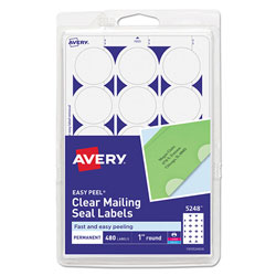 Avery Printable Mailing Seals, 1 in dia., Clear, 15/Sheet, 32 Sheets/Pack