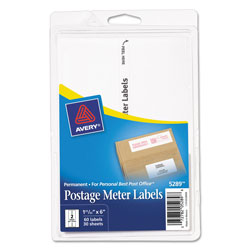 Avery Postage Meter Labels for Personal Post Office, 1.78 x 6, White, 2/Sheet, 30 Sheets/Pack
