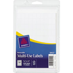Avery Self Adhesive White Removable Labels, Rectangular, 5/16 inx1/2 in, 1000 per Pack