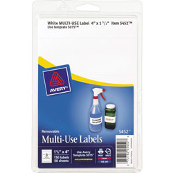 Avery Self Adhesive White Removable Labels, Rectangular, 1 1/2 inx4 in, 150 per Pack