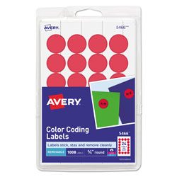 Avery Printable Self-Adhesive Removable Color-Coding Labels, 0.75 in dia., Red, 24/Sheet, 42 Sheets/Pack