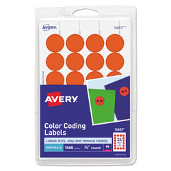 Avery Printable Self-Adhesive Removable Color-Coding Labels, 0.75 in dia., Neon Red, 24/Sheet, 42 Sheets/Pack