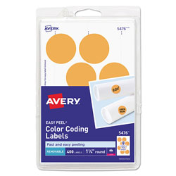 Avery Printable Self-Adhesive Removable Color-Coding Labels, 1.25 in dia., Neon Orange, 8/Sheet, 50 Sheets/Pack