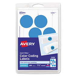 Avery Printable Self-Adhesive Removable Color-Coding Labels, 1.25 in dia., Light Blue, 8/Sheet, 50 Sheets/Pack