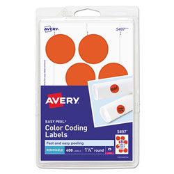 Avery Printable Self-Adhesive Removable Color-Coding Labels, 1.25 in dia., Neon Red, 8/Sheet, 50 Sheets/Pack
