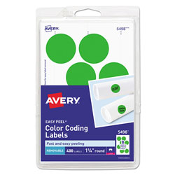 Avery Printable Self-Adhesive Removable Color-Coding Labels, 1.25 in dia., Neon Green, 8/Sheet, 50 Sheets/Pack