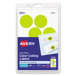 Avery Printable Self-Adhesive Removable Color-Coding Labels, 1.25 in dia., Neon Yellow, 8/Sheet, 50 Sheets/Pack