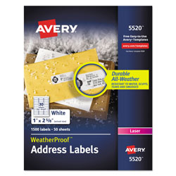 Avery WeatherProof Durable Mailing Labels w/ TrueBlock Technology, Laser Printers, 1 x 2.63, White, 30/Sheet, 50 Sheets/Pack