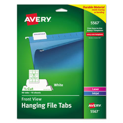Avery Laser Printable Hanging File Tabs, 1/5-Cut Tabs, White, 2.06 in Wide, 90/Pack
