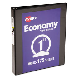 Avery Economy View Binder with Round Rings , 3 Rings, 1 in Capacity, 11 x 8.5, Black