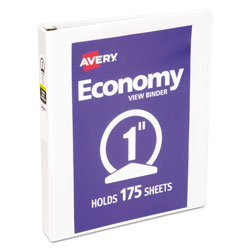 Avery Economy View Binder with Round Rings , 3 Rings, 1 in Capacity, 11 x 8.5, White