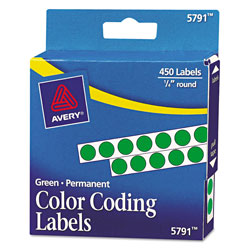 Avery Handwrite-Only Self-Adhesive Removable Round Color-Coding Labels in Dispensers, 0.25 in dia., Green, 450/Roll