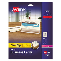 Avery Clean Edge Business Cards, Laser, 2 x 3 1/2, Ivory, 200/Pack