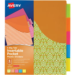 Avery 5-Big Tab Insertable Pocket Plastic Dividers, 1/ST