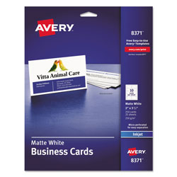 Avery Printable Microperf Business Cards, Inkjet, 2 x 3 1/2, White, Matte, 250/Pack