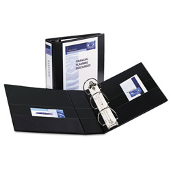 Avery Durable View Binder with DuraHinge and EZD Rings, 3 Rings, 4 in Capacity, 11 x 8.5, Black