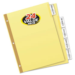 Avery Insertable Big Tab Dividers, 5-Tab, Letter, 24 Sets