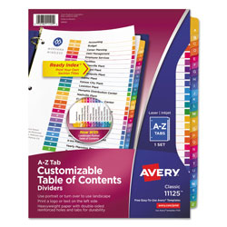 Avery Customizable TOC Ready Index Multicolor Dividers, 26-Tab, Letter