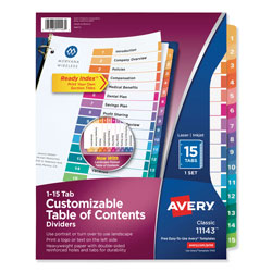 Avery Customizable TOC Ready Index Multicolor Dividers, 15-Tab, Letter