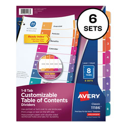 Avery Customizable TOC Ready Index Multicolor Dividers, 8-Tab, Letter, 6 Sets