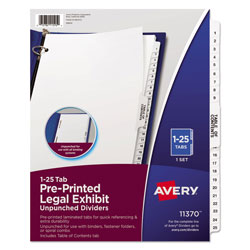 Avery Preprinted Legal Exhibit Side Tab Index Dividers, Avery Style, 25-Tab, 1 to 25, 11 x 8.5, White, 1 Set