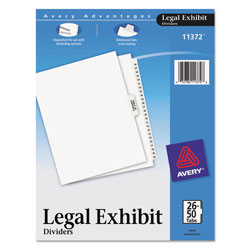 Avery Preprinted Legal Exhibit Side Tab Index Dividers, Avery Style, 26-Tab, 26 to 50, 11 x 8.5, White, 1 Set