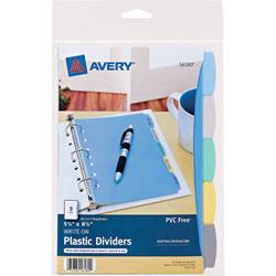 Avery Mini Durable Write-On Plastic Dividers, 5 1/2 inx8 1/2 in, 5-Tab Set, Multicolor