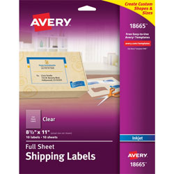 Avery Easy Peel Mailing Labels for Inkjet Printers, 8 1/2 inx11 in, Clear, 10 per Pack