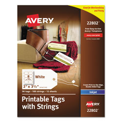 Avery Printable Rectangular Tags with Strings, 2 x 3 1/2, Matte White, 96/Pack