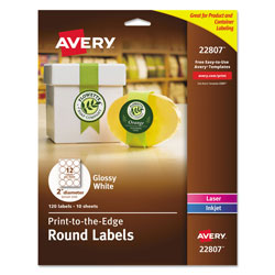 Avery Round Print-to-the Edge Labels with Sure Feed and Easy Peel, 2 in dia, Glossy White, 120/PK