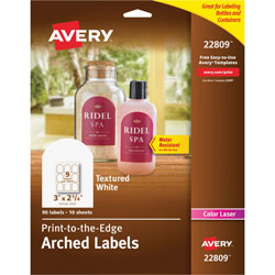 Avery Unique Shapes, Sizes and Textured Labels, Arch, 3 inx2 1/2 in, White, 90 per Pack