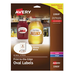 Avery Oval Labels w/ Sure Feed and Easy Peel, 2 x 3.33, Glossy White, 80/Pack