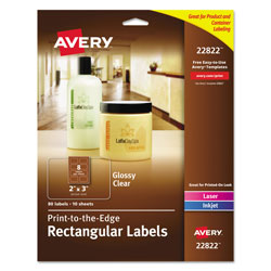 Avery Print-to-the-Edge Labels w/ Sure Feed & Easy Peel, 2 x 3, Glossy Clear, 80/Pack