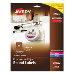 Avery Round Print-to-the Edge Labels with Sure Feed and Easy Peel, 2 in dia, Glossy Clear, 120/PK