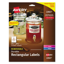 Avery Removable Print-to-the-Edge White Labels w/ Sure Feed, 3 1/2 x 4 3/4, 32/Pack