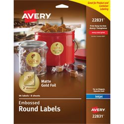 Avery Round Easy Peel Labels, 2 in meter, Gold