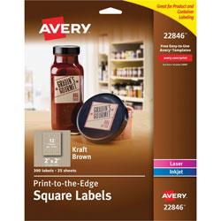 Avery Print-To-The-Edge Easy Peel Labels with TrueBlock, 2 x 2, Kraft Brown, 300/Pack