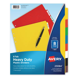 Avery Heavy-Duty Plastic Dividers with Multicolor Tabs and White Labels , 8-Tab, 11 x 8.5, Assorted, 1 Set