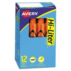 Avery HI-LITER Desk-Style Highlighters, Chisel Tip, Fluorescent Orange, Dozen