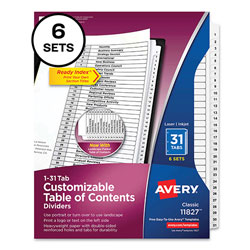 Avery Customizable Table of Contents Ready Index Black and White Dividers, 31-Tab, 1 to 31, 11 x 8.5, 6 Sets