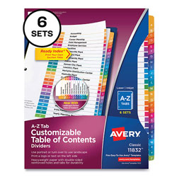 Avery Customizable Table of Contents Ready Index Multicolor Dividers, 26-Tab, A to Z, 11 x 8.5, 6 Sets