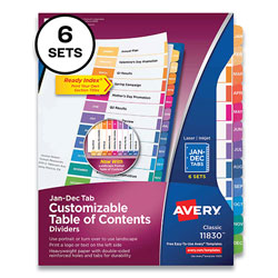 Avery Customizable Table of Contents Ready Index Multicolor Dividers, 12-Tab, Jan. to Dec., 11 x 8.5, 6 Sets