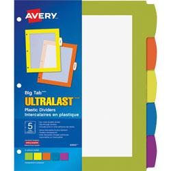 Avery Big Tab Ultralast Plastic Dividers, Multicolor, 5-Tab, 8 1/2 x 11