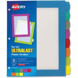 Avery Big Tab Ultralast Plastic Dividers, Multicolor, 8-Tab, 8 1/2 x 11