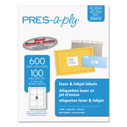 Avery Labels, Laser Printers, 3.33 x 4, White, 6/Sheet, 100 Sheets/Box