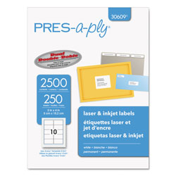 Avery Labels, Laser Printers, 2 x 4, White, 10/Sheet, 250 Sheets/Box