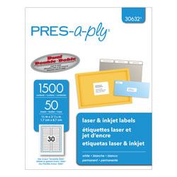 Avery Labels, 0.66 x 3.44, White, 30/Sheet, 50 Sheets/Box